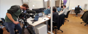 Das Kamerateam vom SWR im Büro von auvisus